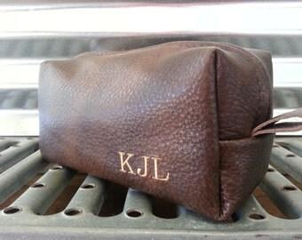 Espresso Leather Shaving Bag/ Handmade Shave Bag /Father's Day Gift/ Wedding/ Groomsman Gift/ Dopp Kit/ Mens Gift/
