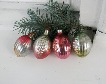 Set of 4 Vintage Soviet Christmas tree decoration, Mercury Glass Ornament, Christmas decor, Retro Tree decoration, Made in USSR
