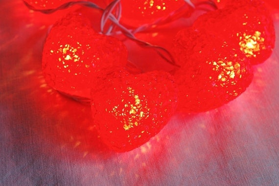 Valentine s Day 10 Red Hearts String Lights by CobblestonesVintage