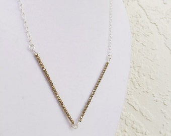 Mixed Metal Hematite Linear Necklace
