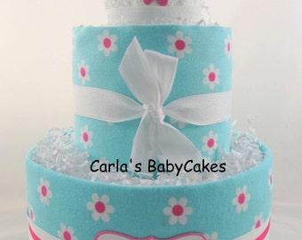 Girl diaper cake | Baby diaper cake | Baby shower decoration | Baby shower gift | Flower diaper cake | New baby gift | New mom gift