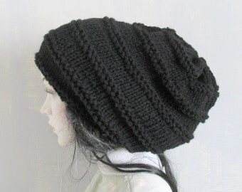 Super Chunky Large Baggy Hand Knitted Huge Boho Hat Women Teen Extra Large Slouchy Hat Rasta Cap in Black  Large Slouchy Hat Tam Hat