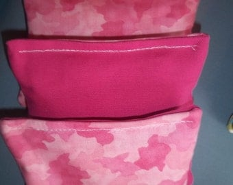 8 ACA Regulation Cornhole Bags - 4 Pink Camo and 4 Solid Pink