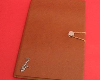 Saxophone Hand Cast Pewter Motif on A5 Tan Journal Saxophone Jazz Notebook Musical Gift
