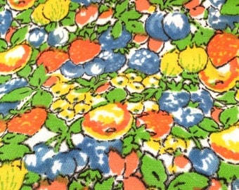 1960's 70's Colorful Fruit Fabric, Heavy Weight Yellow Orange Green Drape Fabric, Vintage Decor Upholstery Weight Remnant Fabric, Curtain
