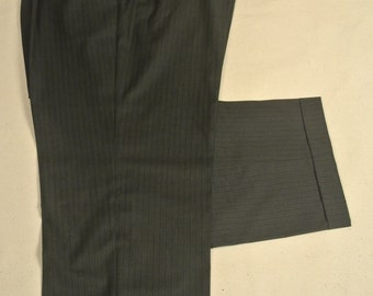 Jos. A. Bank Charcoal Worsted Wool Dress Pleat Trousers Men's Size: 43x29