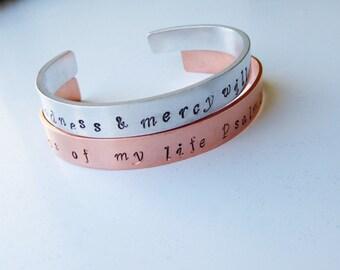 Pair Of Hand Stamped Bible Verse Bracelet, Psalm 23, Adjustable, 1 Aluminium,  1 Pure Copper