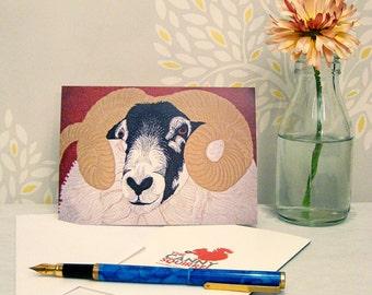 Sheep card, birthday card, greetings card, blank card, ram card