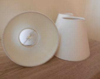 Two White Clip-on Fabric Mini Lamp Shades