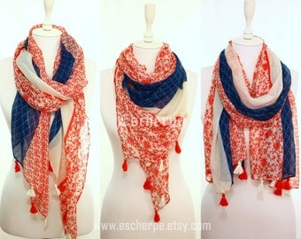 Red Blue Floral Tassel Woman Scarf So Soft Lightweight Spring Summer Accessory Women Fashion Accessories Gift Ideas For Her For Mom