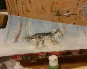 Canine painting on Saw ** MARKED DOWN