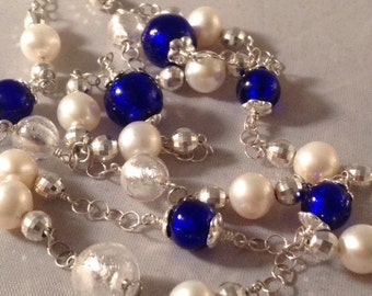Cobalt Blue Murrano Glass, Freshwater Pearl & Sterling Silver Necklace