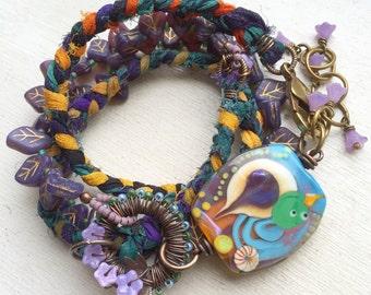 Purple bird wrap bracelet, sari silk wrap  bracelet, beaded wrap bracelet, boho, gift for her, uk shop, swallow bracelet