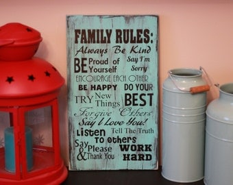 Custom Painted Wood Family Rules Sign