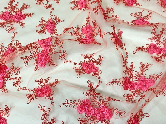 Baby rose embroidery fabric in coral beautiful by urquidlinen