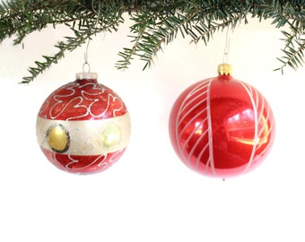 SALE Large Red West Germany Ornaments, Handpainted