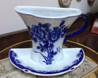 Darling Chinese Blue Willow Teacup and Saucer Wall Pocket and Vase