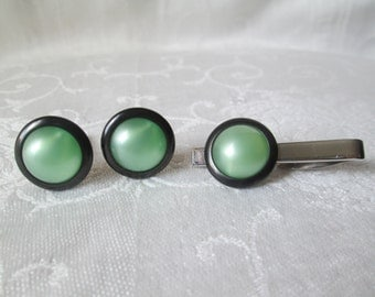 "Vintage ""Jadeite"" Tie Clip and Cuff Links"