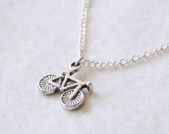 Silver Bicycle Necklace, Silver Bike pendant necklace, Cyclist Gift, Vintage Bicycle Necklace, Sporty jewelry, Bike lover gift, Bike Racer