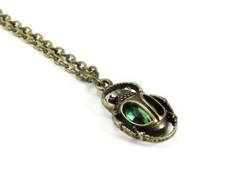 Scarab Necklace Bronze Brass Chain Egyptian Style