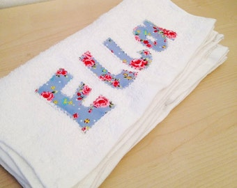 Personalised flannel in floral- new baby, birthday, christening gift