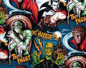 Monster Hollywood Fabric by the Yard Frankenstein dracula Rare