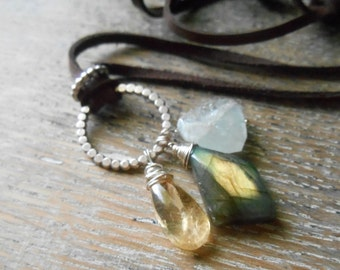 Aquamarine, labradorite, citrine gemstone leather necklace with sterling silver accents