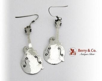 SaLe! sALe! Hand Made Guitar Earrings Sterling Silver