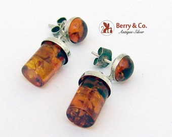 SaLe! sALe! Treated Amber Dangle Drop Cylinder Earrings Sterling Silver