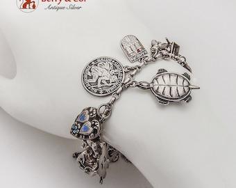 Vintage Charm Bracelet 20 Charms Sterling Silver 1960