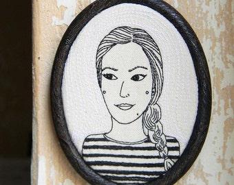 Custom Portrait,SHE,Personalized Portrait,Wall Hanging,Housewarming Gift,Embroidered Portrait by polykatoikia