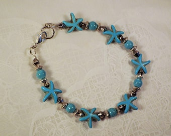 "Cynthia Lynn ""STAR FISHING"" Blue Turquoise Starfish Beaded Silver Bracelet 7.5 inches"