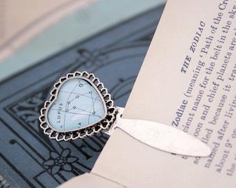 Zodiac bookmark / Custom star constellation bookmark / heavens map Birthday gifts / Librarian gadget heart shaped bookmark /love reading