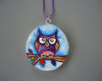 Handpainted Owl Necklace