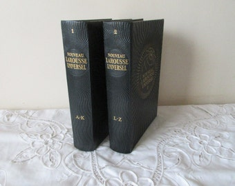 Fascinating, Large, 2 Volume Vintage French Dictionary Encyclopedia , Larousse Universel, (c.1948) - Collectible, Ephemera, French Paper.