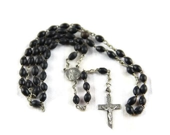 Vintage French rosary, chapelet, with dark brown beads, silver cross and medallion