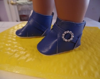 Bright Blue-Slip on Ankle Boot--for 18 Inch dolls-- Boots-Shown on my american girl doll
