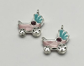 2 baby pink  carriage enamel and silver tone 25mm #CH 265