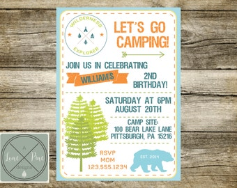 Camping Invitation, Camper Invitation, Scout Birthday Party