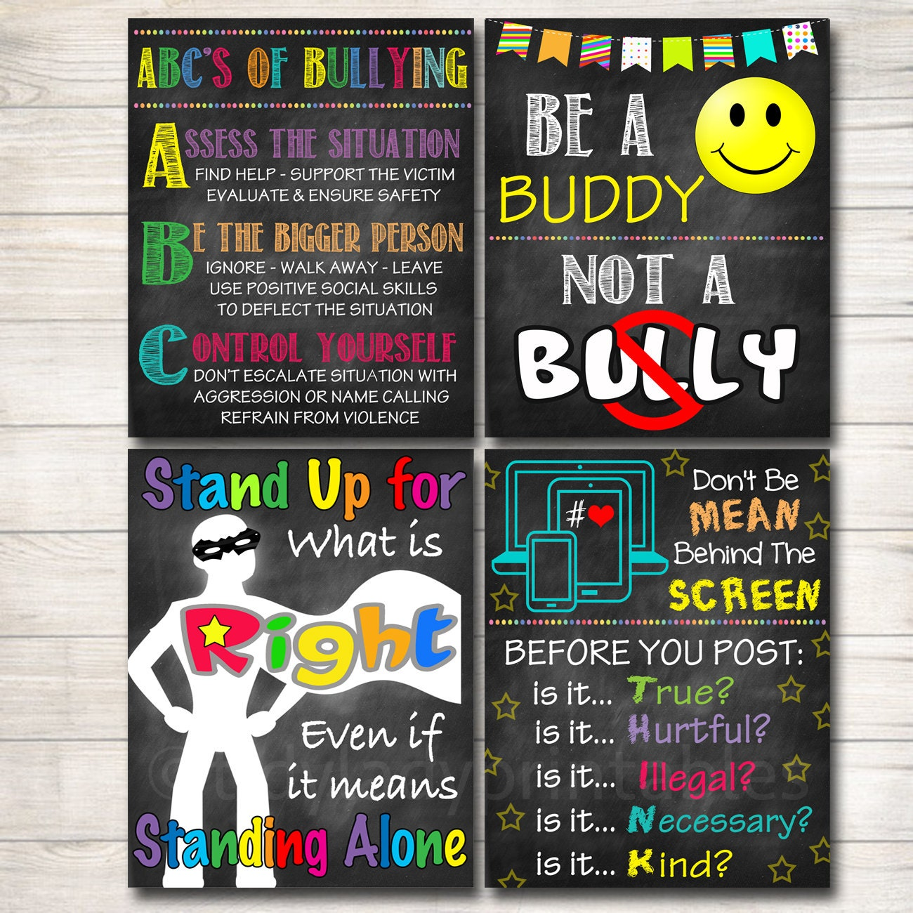 Classroom Decor Posters ~ Anti bully poster pack classroom decor counselor office