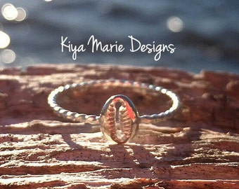 Cowrie shell Ring, skinny band stack ring, Sterling Silver Argentium Silver Stack Rings, Sea life nautical rings, beach ocean jewelry