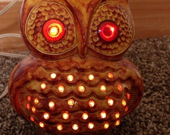 Vintage owl ceramic night light