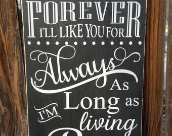 I'll love you forever, I'll like you for always wood sign