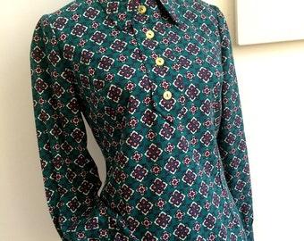 1960s - Green Geometric Mod Cotton Blouse