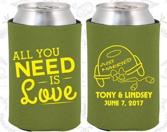 All you Need is Love, Personalized Wedding, Just Married Wedding Favors, Vintage Car, Vintage Wedding Favors, Beer Holder (554)