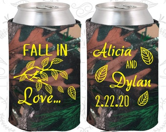Fall In Love, Wedding Party Gifts, Fall Wedding Gift, Leaves, Fall in Love Wedding Gift, Personalized Coolies (283)