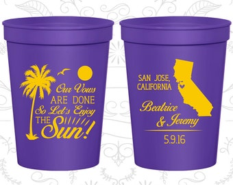 Our Vows are Done, So Lets Enjoy the Sun, Promotional Wedding Cups, Beach Cups, Palm Tree Cups, souvenir cups (447)