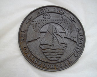 Cast iron plate. Coalbrookdale, Ironbridge. Industrial revolution, cast iron plaque