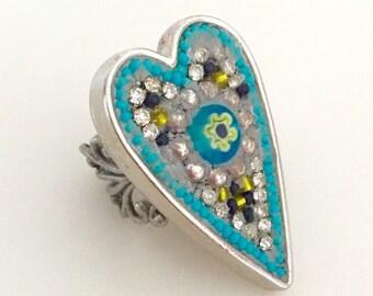 Eye Love U Bezel Mosaic Ring