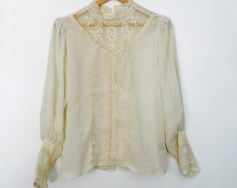 70's Cream Sheer Lace Blouse